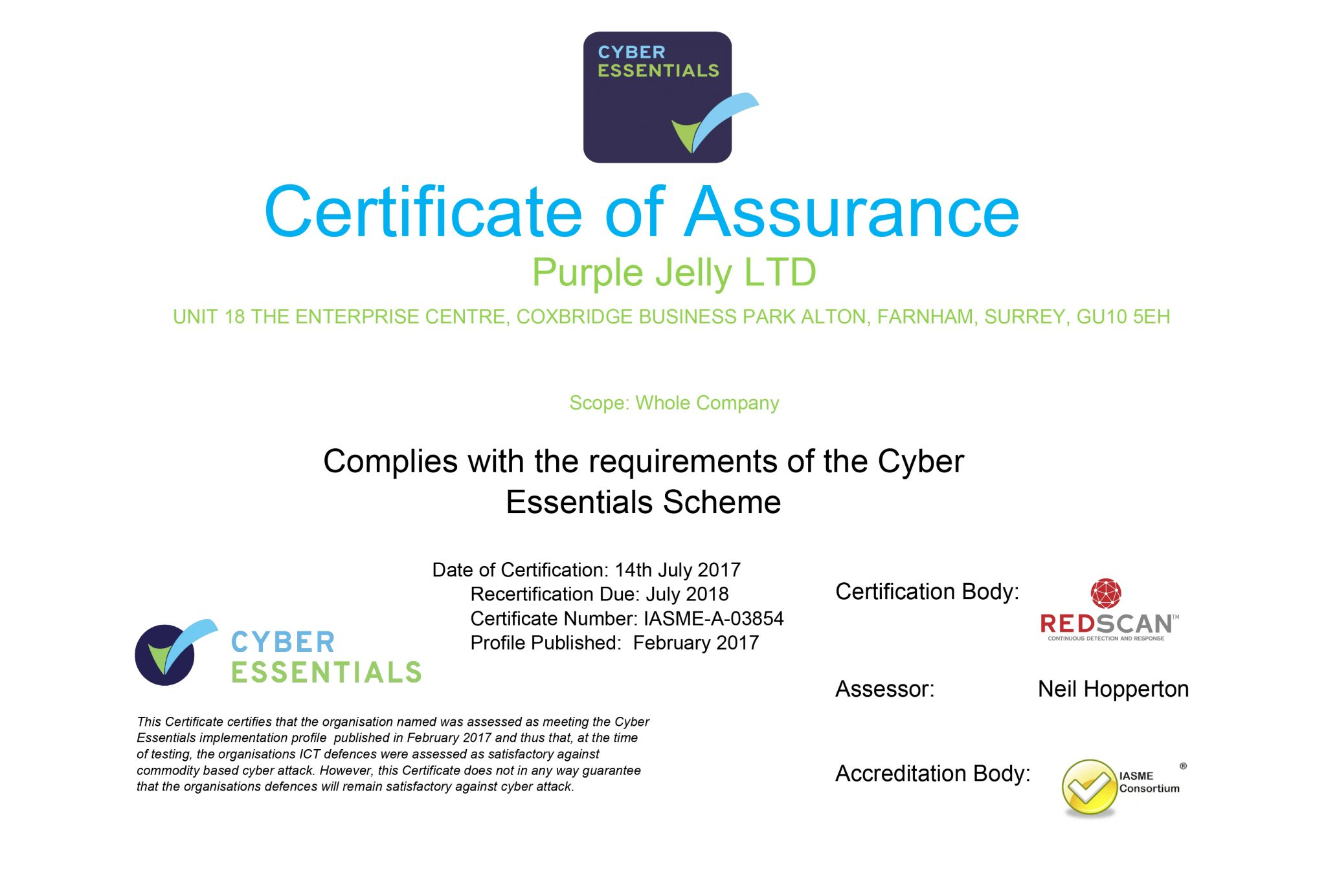 PurpleJelly IT Support Farnham | Cyber Essentials Accreditation